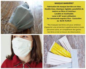 Masques barrières proposés par Eva couturière à Moussoulens😷