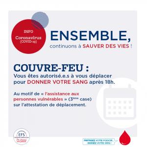 Don du sang & Couvre-feu (16h-19h30)